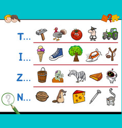 First letter educational activity vector