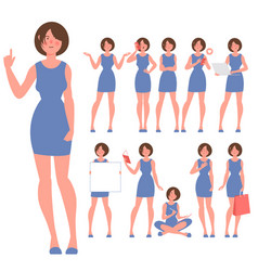 flat design characters a young woman vector image