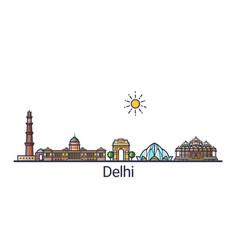 Flat line delhi banner vector