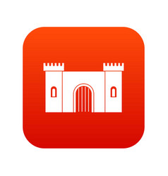fortress with gate icon digital red vector image