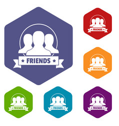 Friends icons hexahedron vector