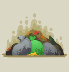 garbage dump smelly trash in garbage bags city vector image