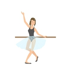 Girl In Blue Skirt In Ballet Dance Class vector