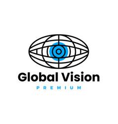 globe eye global vision logo icon vector image