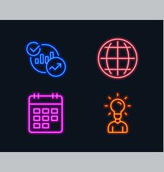 globe statistics and calendar icons education vector image