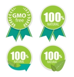 Gmo Free and 100 Natural Label Set vector