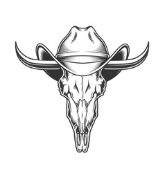 goat skull with horns and cowboy hat vector image