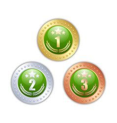 Golden silver and bronze quality badges or medals vector