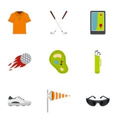 Golf market icons set flat style vector