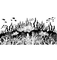 hand drawn clown fish in sea anemones coral reef vector image