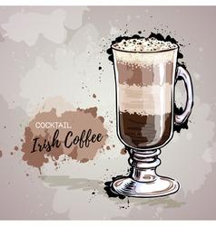Hand drawn cocktail irish coffee vector