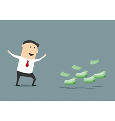 Happy cartoon businessman found money vector