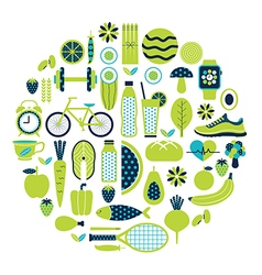 Healthy lifestyle icon set in green colour vector