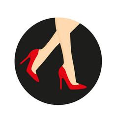 High heel shoes on legs vector