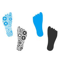 Human footprints mosaic of service tools vector
