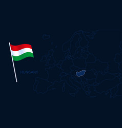hungary on europe map high quality map europe vector image