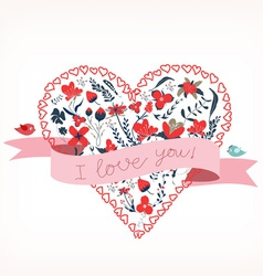 i love you with heart romantic card vector image