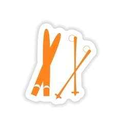 Icon sticker realistic design on paper skis vector