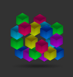 Isometric color cubes on the black background vector