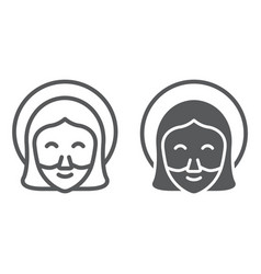 Jesus line and glyph icon portrait and christ vector