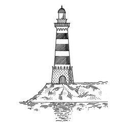 Lighthouse engraving style vector