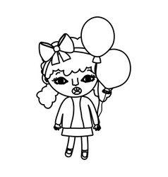 Line girl child with two tails and balloons vector