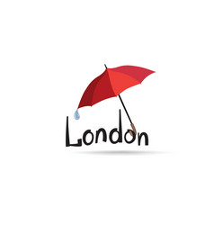 london sign hand lettering with umbrella capital vector image