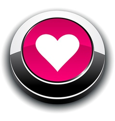 Love 3d round button vector