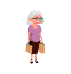 Mature age woman buying products on market place vector