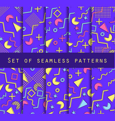 Memphis seamless pattern set geometric elements vector