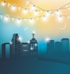 modern city at night vector image