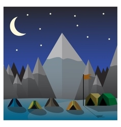 Mountain camp at night Flat design vector