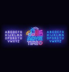 movie time neon sign cinema logo vector image