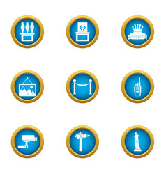 Museum observation icons set flat style vector