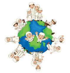 muslim people around the world vector image