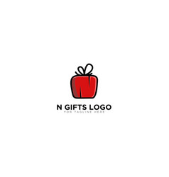 N gifts logo designs with red initial vector