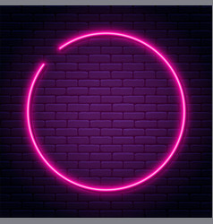 Neon sign in circle shape bright light vector