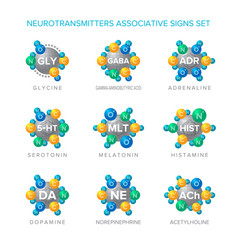 Neurotransmitters signs with associative vector