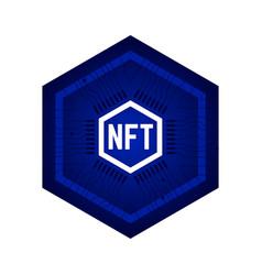 Nft non fungible token blue icon crypto vector