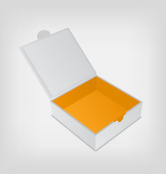Open packaging box mockup Gray square and orange vector