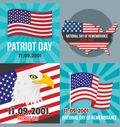 patriot day banner concept set flat style vector image