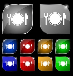 Plate icon sign Set of ten colorful buttons with vector