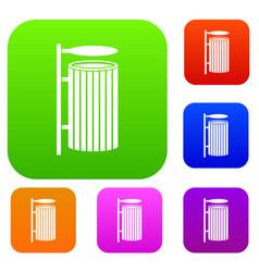 public trash can set color collection vector image