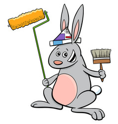 rabbit painter cartoon character vector image