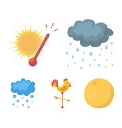 Rain snow heat weathervane the weather set vector