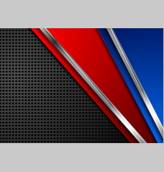 Red and blue metallic perforated technology vector