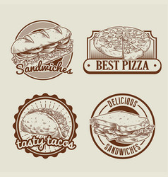 Retro collection of fast food badge vector