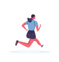 Running young woman in sport clothes jogging cute vector