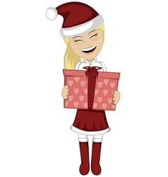 Santa girl with surprise vector image
