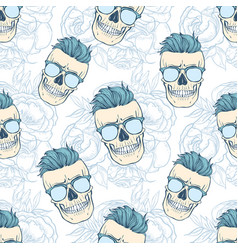 seamless color pattern with skull vector image